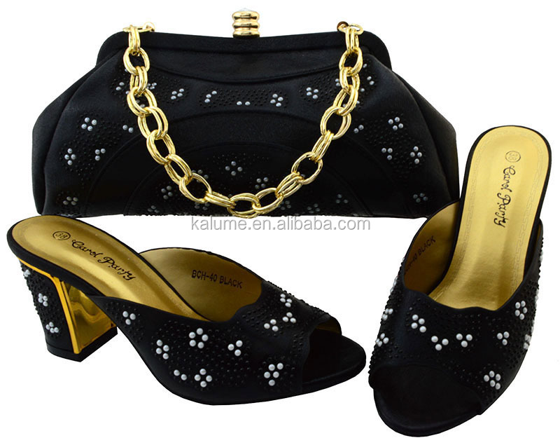Black Heel And 40 Matching Italian Set With Shoes Sexy BCH High Bags Shoes Bag 2017 Women A8qArvw