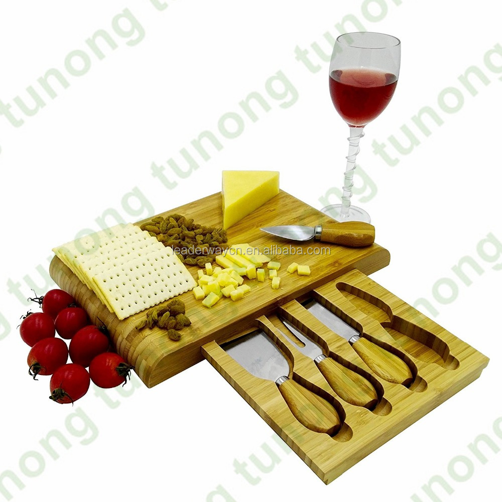 Popular Mini bamboo cheese cutlery serving tray,cheese cutting board knife set