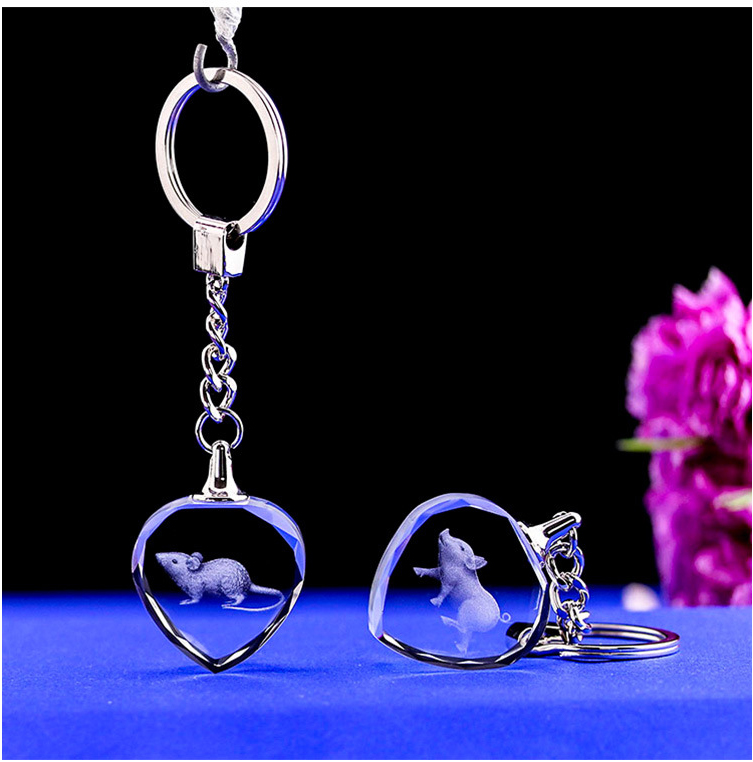 Crystal LED laser inside carving Crystal Sparkling key chain, key chain, logo can be made Crystal heart keyring