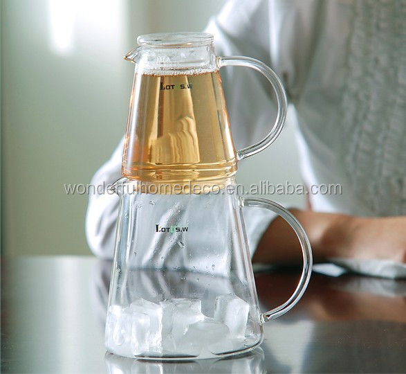 AIHPO492 Fancy Clear Custom Hot Sale Perfect Large Handmade Borosilicate Glass Pitcher Carafe Iced Tea Maker Set