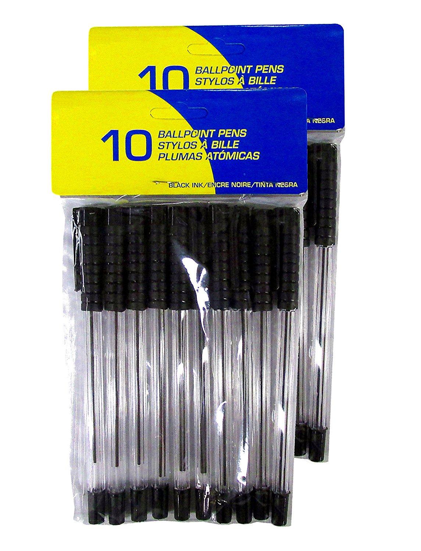 Set of Black Ink Ballpoint Pens - (2 Sets of 10 Pens)