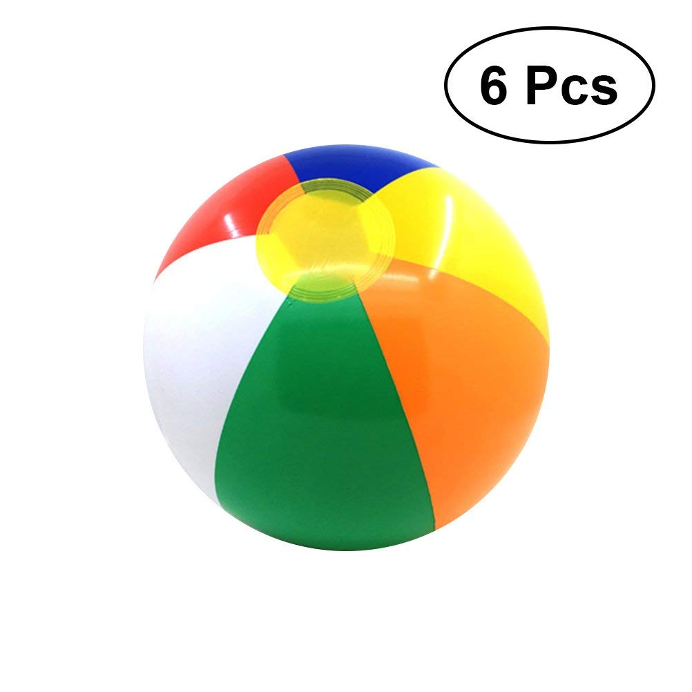 VORCOOL 6Pcs Inflatable Beach Ball Kids Pool Party Balls Rainbow Colored Beach Pool Party Toys for Kids Children