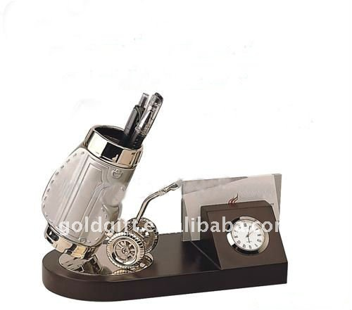 business card holder set with clock