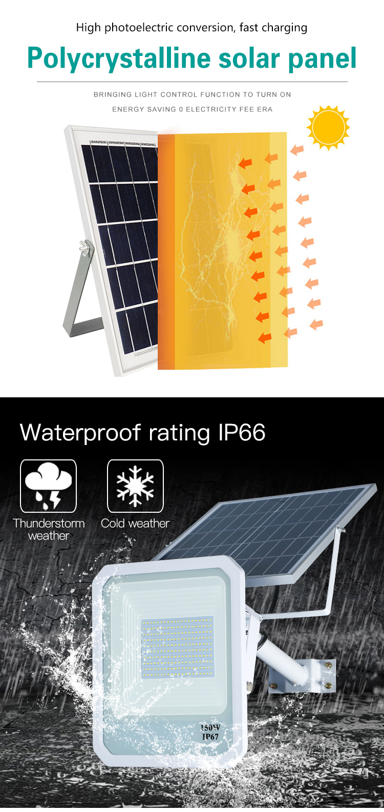 Cheap price CE ROHS aluminum outdoor ip67 50w 100w 150w solar led flood light