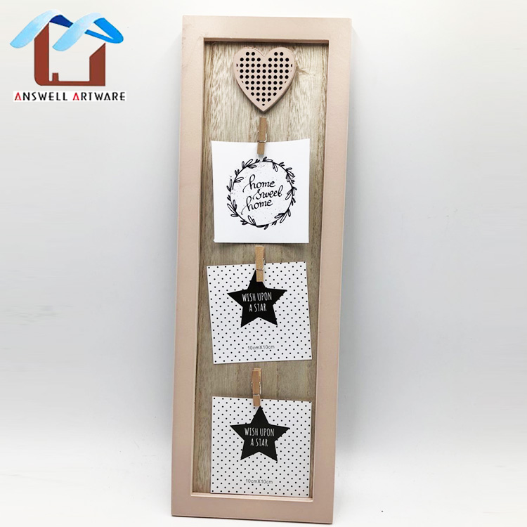 New design Home Decoration Picture Clip Wood Photo Frame With Clip