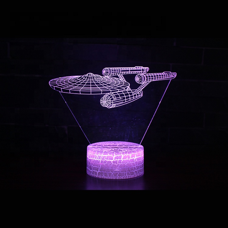 Creative Acrylic LED Lights Table Lamp Star Trek Spacecraft 3d Light Lamp