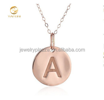 Mlx00040 tiny rose gold round plain letter a initial disc charm mlx00040 tiny rose gold round plain letter a initial disc charm pendant necklace aloadofball Image collections