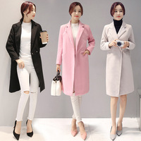 B12125A High Quality Womens Woolen Slim Winter Cashmere Coat
