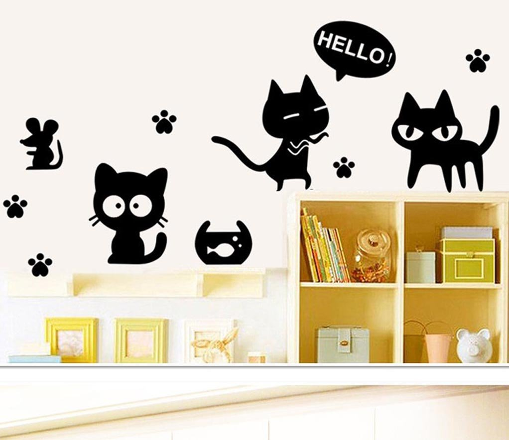 BIBITIME Saying Hello Mouse Black Cat Sticker for Laptop Animal Paw Car Window Decals Cartoon Pussyfoot Footprint Wall Stickers
