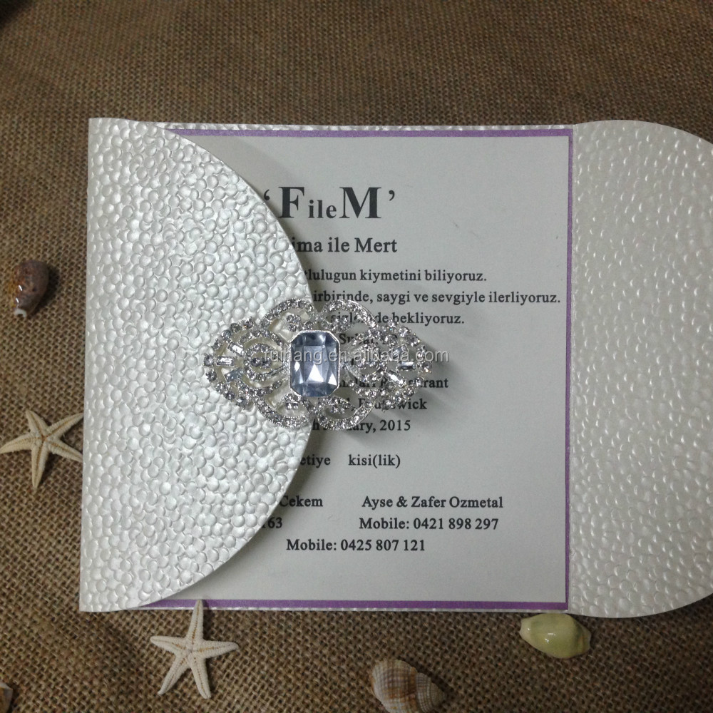 wedding media invitation naturally nude rhinestone brooch weddbook