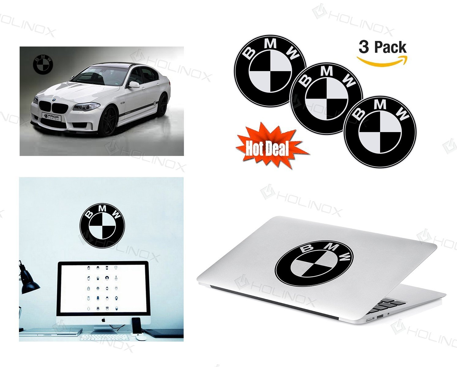 Get quotations · bmw logo stickers decal set of 3 decals high resolution superior finish and