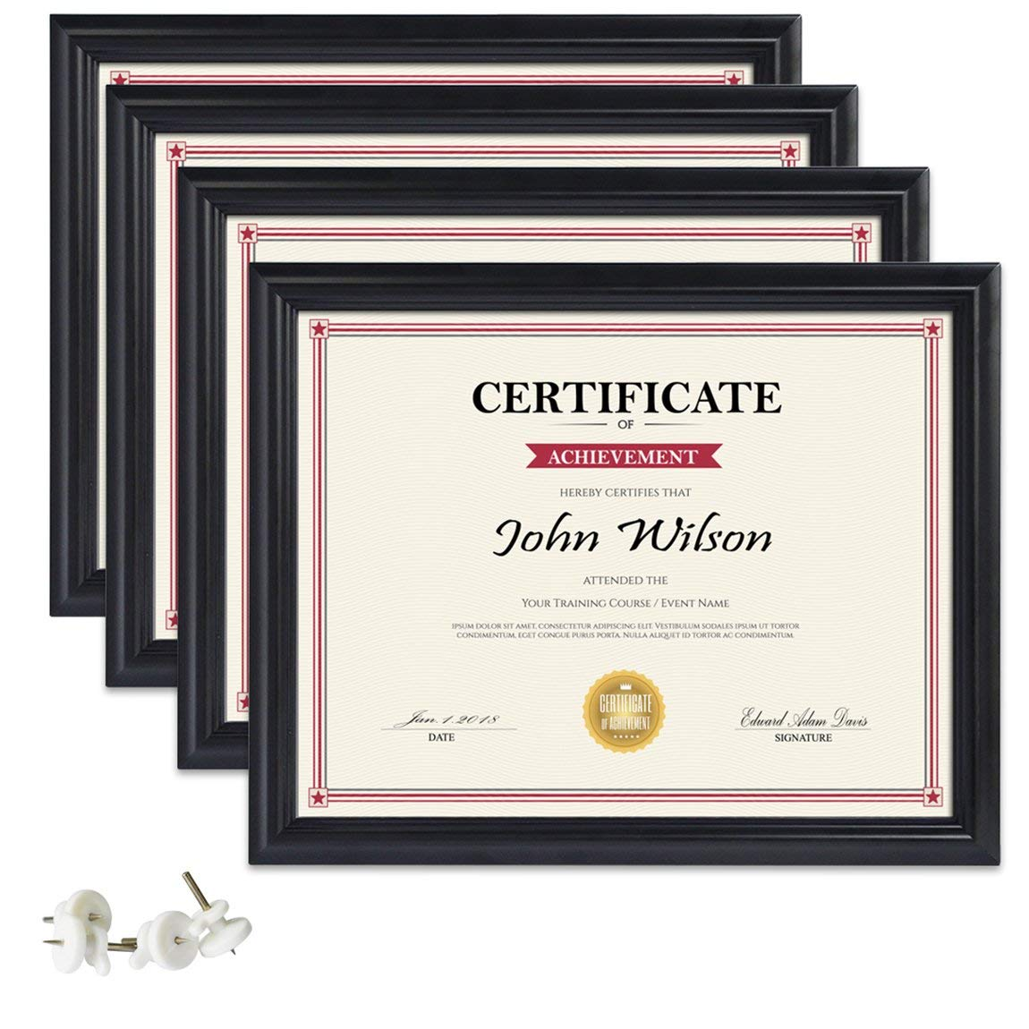 PETAFLOP 8.5x11 Picture Frames 4pcs Black Diploma Frame Set Certificate Document Protection Wall Tabletop Mounting Type