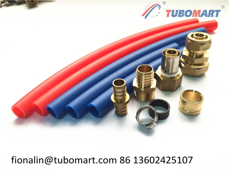 Tubomart red blue pex pipes of pex material water plumbing for Water pipe material