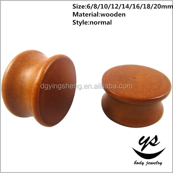 high quality low price ear piercing solid brown wood tunnels plugs