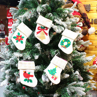7 inches Cheap Hanging quilted White Small Christmas Stocking