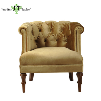 Home Furniture Single Seater Gold Velvet Upholster Sofa Chairs/living Room  Furniture Comfortable Arm Chair