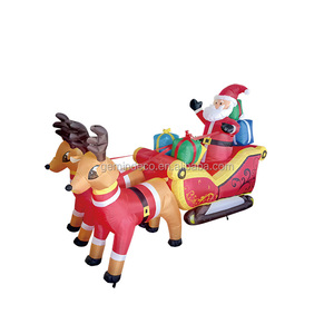 Lawn ornament LED inflatable abreast a couple reindeer santa claus gift boxes red sledge holiday decoration