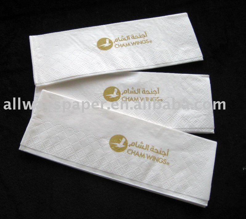 12 folded printed logo Luncheon Paper Napkin/Airline Serviette