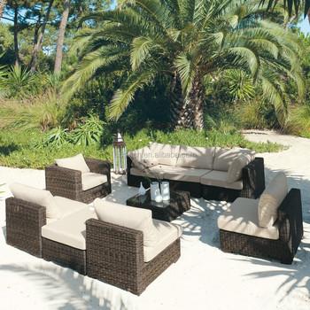 tropical bali style resort leisure wicker rattan sofa set outdoor
