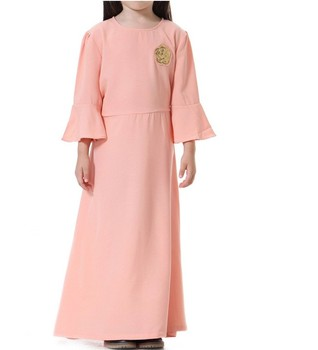 New Arrivals Eid Arab Dubai Muslim Children Abaya Long Sleeve Islamic Maxi Dress Kids Abaya