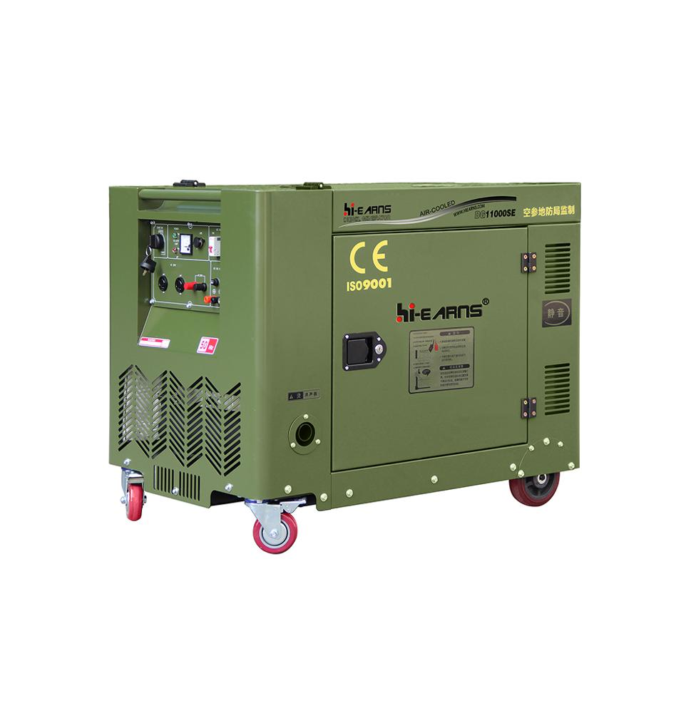 DG11000SE 8KW army green silent small diesel generator with multi-function  panel and copper alternator