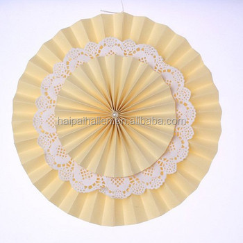 Cream Paper Fans Backdrop Hanging Paper Fans Decoration Vintage Collection HANGING FANS Wedding Decoration