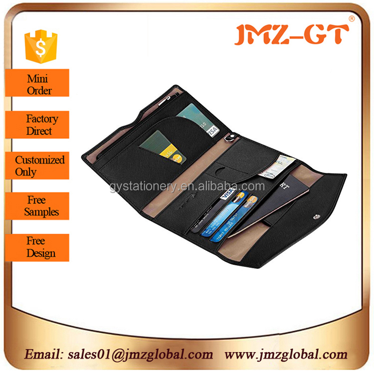 custom pu leather passport holder multiple wallet