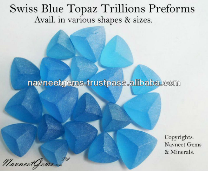 AAA Swiss Blue Topaz Preforms & Rough Cabochons Wholesale supplier