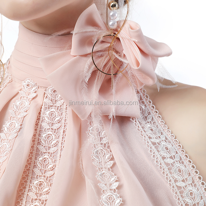 Free Shipping Custom Made Popular High Neck Peplum Appliqued Beaded Mini Hand Made Flower Backless Women Prom Dress