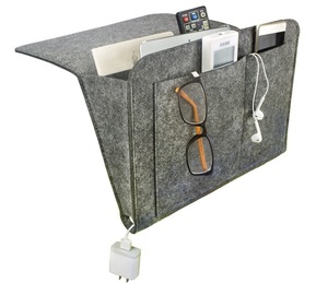 Middle Gray Felt Bedside Storage Caddy Organizer For Table Cabinet