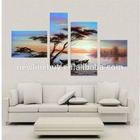 4 Piece Art Set! 100% Handpainted Home Decor Landscape Pine Trees Scenery Hand Oil Painting On Canvas,Large Wall Art