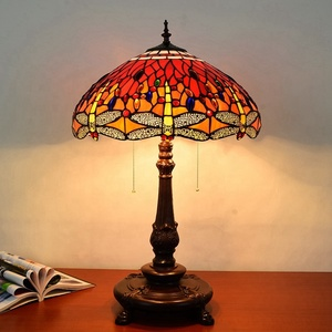 "Handmade luxury tiffany bedside lamp desk lights 3-Light dragonfly tifany style 18"" table lamp lantern"