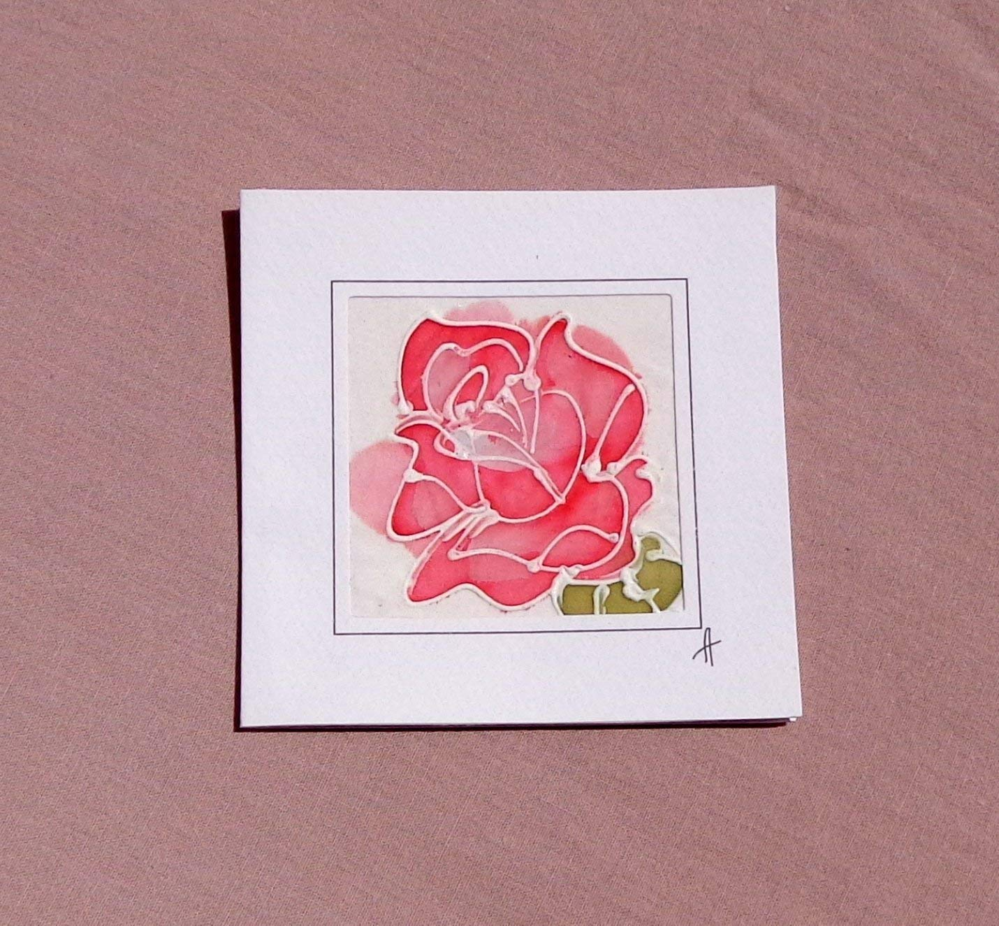 Sale!!!20% Off,Rose Love,The Rose-Queen of Flowers,Romantic Red Rose Card, Rose Birthday Card, Unique silk painting card, Rose Gift, Card Rose, Wedding Card, Flower Greeting Card, Rose Mother's Day.