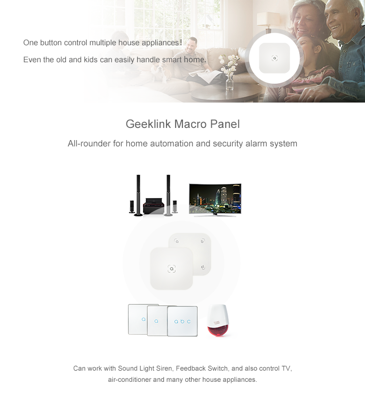 Geeklink Fashion design smart home scene switch 4 gang macro panel IFTTT intelligent scene wifi digital remote control switch