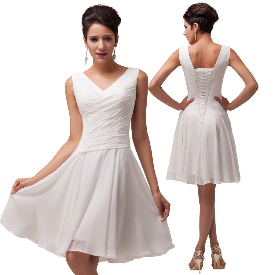 Cheap white tight short dress find white tight short dress deals get quotations sexy v neck chiffon white bridesmaid dress lace up back pleated short bridesmaid dress under ombrellifo Choice Image