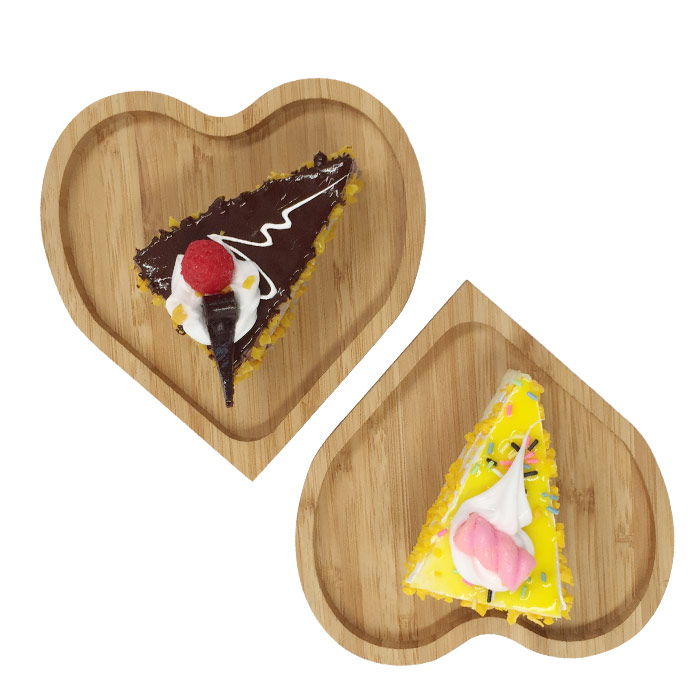 Decorative Heart Shaped Kitchen Wood Eco Food Tray Serving For Breakfast 3
