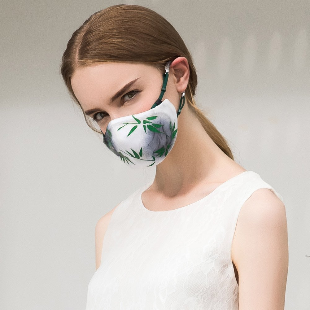 101e2259afe Get Quotations · MeHow White Silk Fabric Cloth Bamboo printed Mouth Mask PM2 .5 Anti-dust Haze