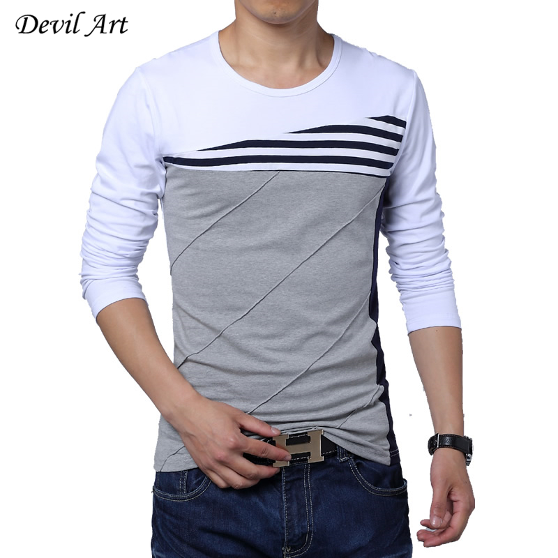 Free Shipping 2016 Spring Mens Long Sleeved T shirts Spell ...