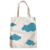 Reusable organic cotton bag White clouds Cartoon pattern customize shopping bag