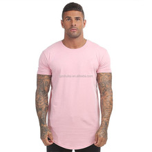 Men longline t shirt cotton plain short sleeve t shirt with curved hem from guangzhou clothing factory T-1450