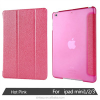 Wholesale Stand Back PC + Leather Smart Cover Case For iPad 6 Air 2, PU Leather PC Back Flip 3 Fold Cover