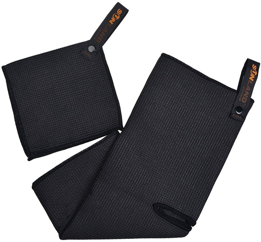 Sunland Microfiber Deep Waffle Weave Golf Towels with Free Golf Balls Towel