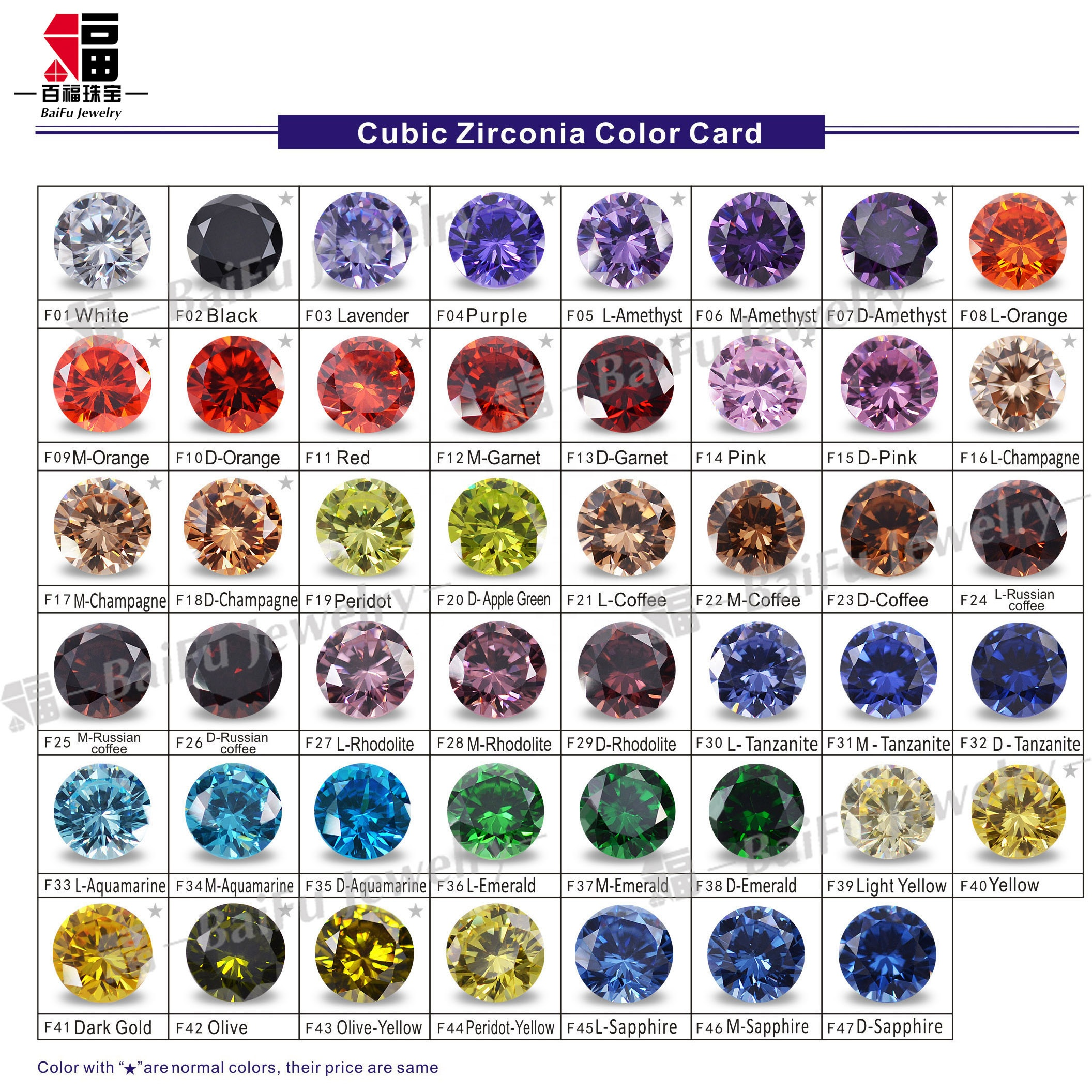 AAA good quality Round 8.0mm 47 kinds of colors CZ stones cubic zirconia samples