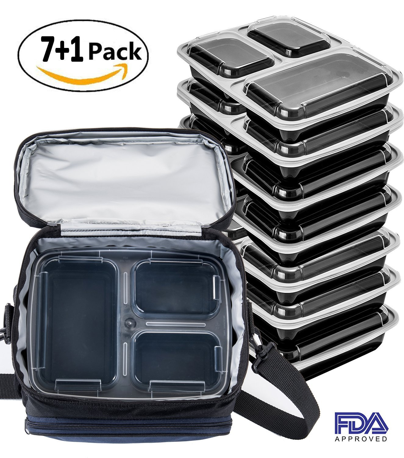 Lunch Box Bag with Meal Prep Containers 3 Compartment(7 Pack) Insulated Lunch Bag Cooler Bag with Portion Control Food Containers Lunch Box Bag for Meal Prep