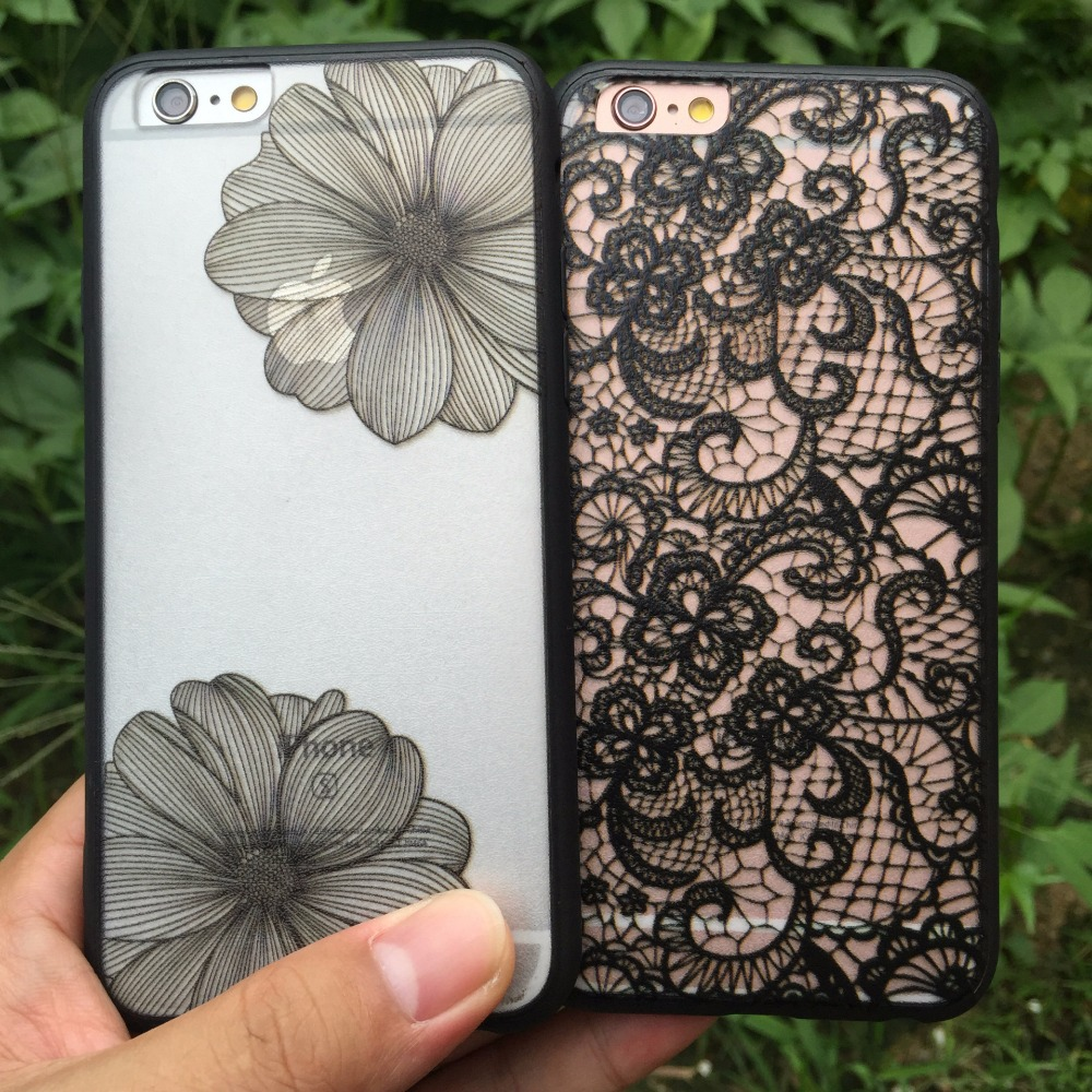Guangzhou supply lace flower pattern silicone Acrylic 2 in 1 mobile phone back cover case for iphone 5 se
