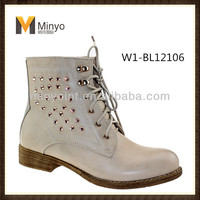 Minyo China Woman Fashion Ankle Boots Lace Up shoes designer