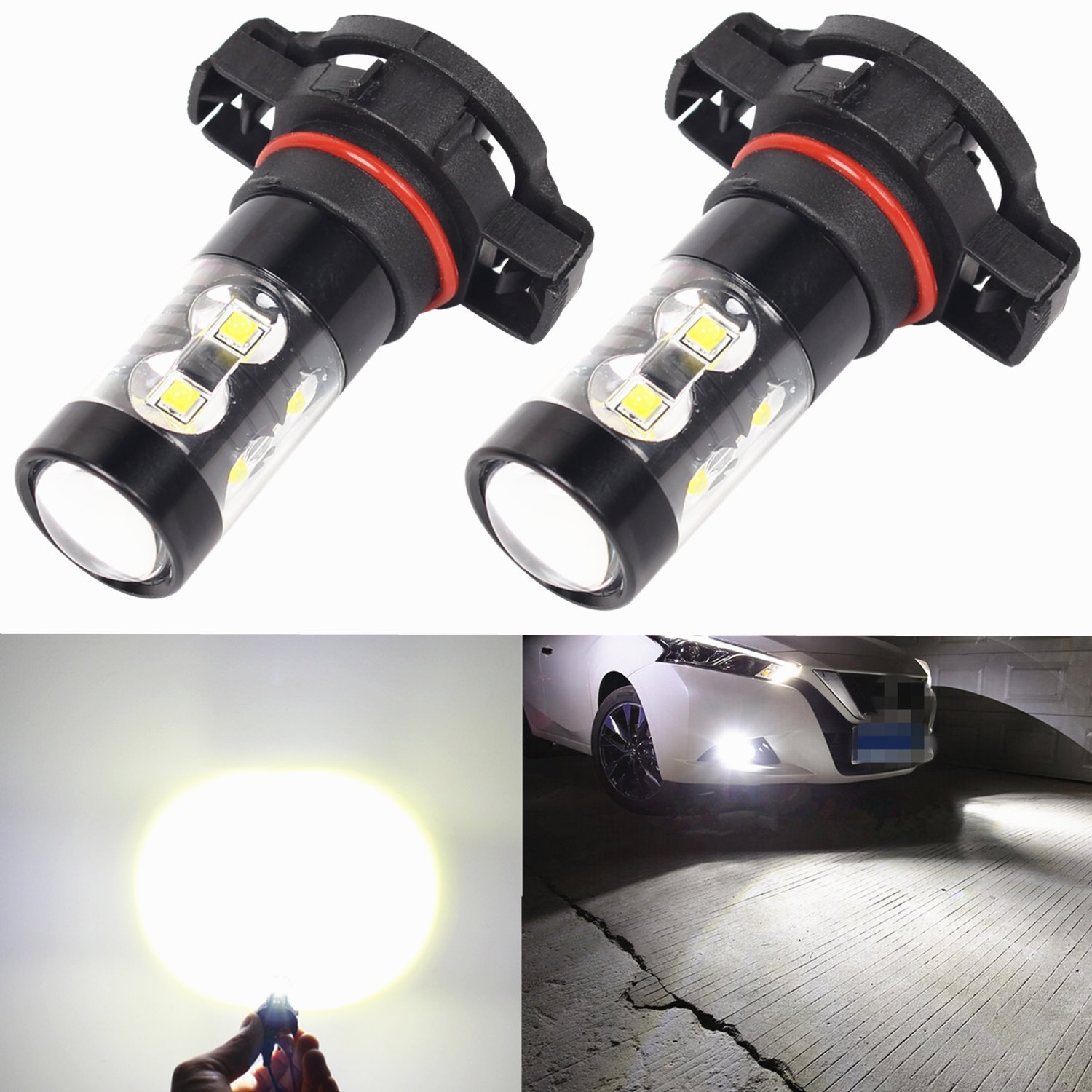 Alla Lighting 2504 PSX24W 50W High Power Xtremely Super Bright White LED Lights Bulbs for Fog Light Lamp Replacement