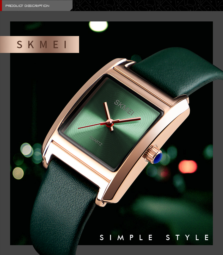 2019 SKMEI Women Watches Top Brand Leather Luxury Watch Fashion Women Square case size watch Luxury