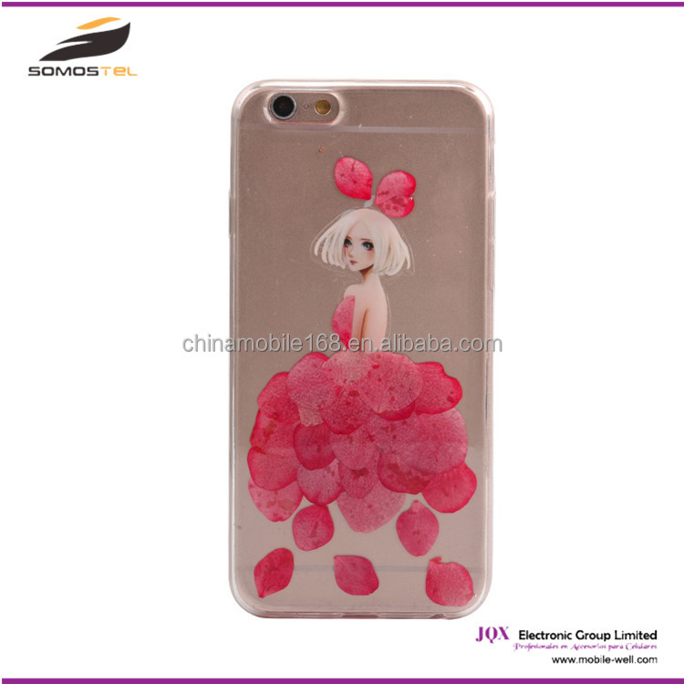 [Somostel] Beautiful girl real flower design soft tpu mobile phone case for iphone 4 5 5c 6 6 Plus for samsung