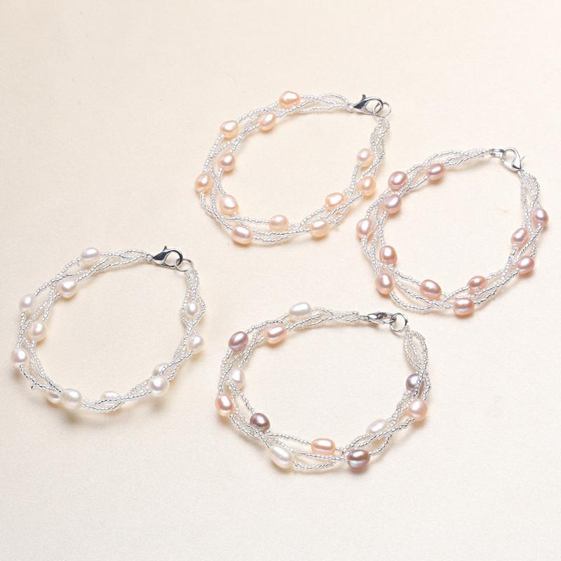 Wholesale pearl jewelry copper chain natural pearl bracelet